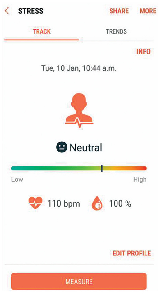 Figure 2: Android S-HEALTH software measuring stress levels, the values appearing on the screen