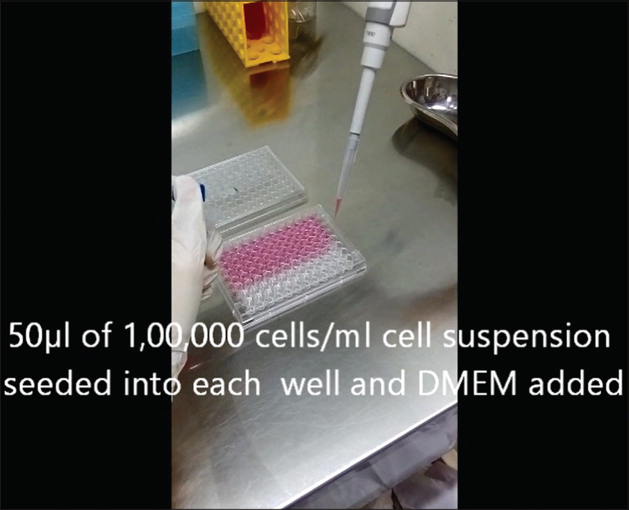 Figure 7: Fifty microliters of 100,000 cells/ml cell suspension seeded into each well and Dulbecco's Modified Eagle Media added